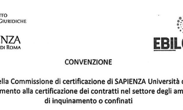 Firmata Convenzione EBILCOOP e l'Università SAPIENZA su Certificazione dei Contratti nel settore degli ambienti sospetti di inquinamento